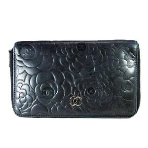 CHANEL Bags - Black Camellia Embossed Lambskin Leather Wallet